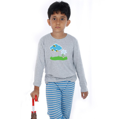 Grey Full Sleeve Boys Pyjama - Honey Bee